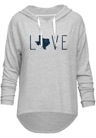 Texas Womens Grey Love Long Sleeve Light Weight Hood