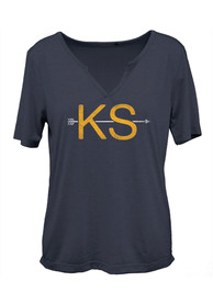 Kansas Womens Navy Arrow Initials Short Sleeve T Shirt