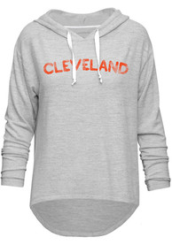 Cleveland Womens Grey Distressed Wordmark Long Sleeve Light Weight Hood