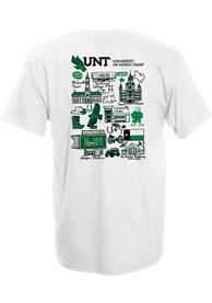 North Texas Mean Green Womens Julia Gash T-Shirt - White