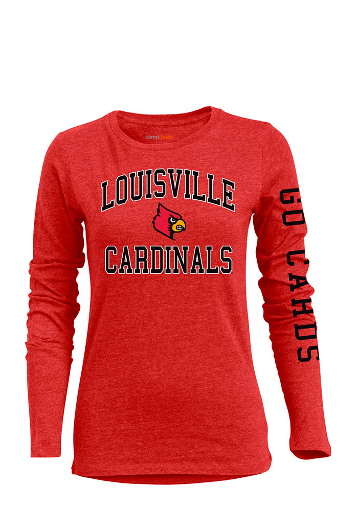 Louisville Cardinals Womens Red BFF Long Sleeve Crew T-Shirt - Image 1