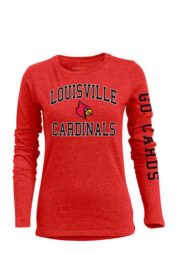 Louisville cardinals womens red bff long sleeve crew t for Louisville t shirt printing