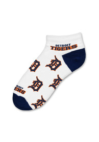 Detroit Tigers Womens Logo All-Over No Show Socks - White