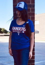 Texas Rangers Womens Nike Authentic Collection Dri-FIT T-Shirt - Blue