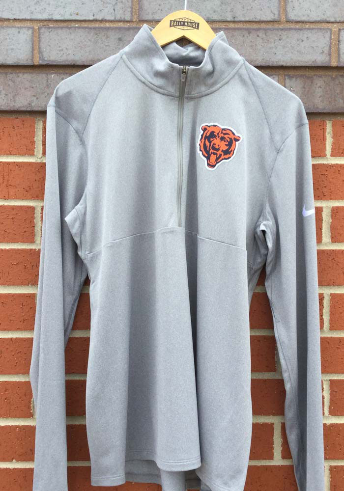 Nike Chicago Bears Mens Grey Element Long Sleeve 1/4 Zip Pullover - Image 3