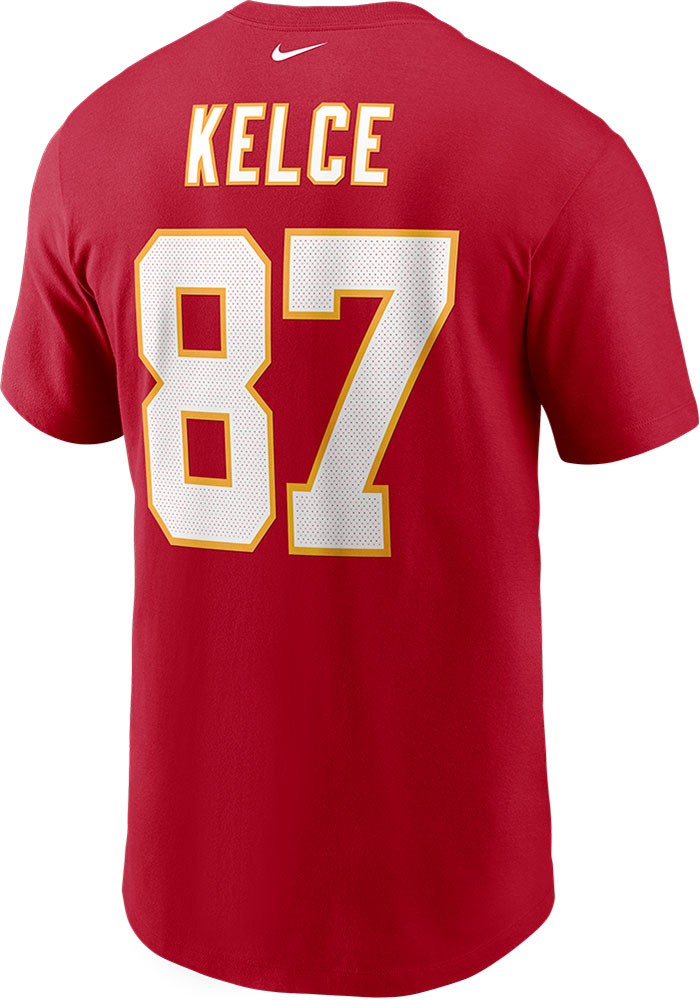 Travis Kelce Kansas City Chiefs Red Name Number Short Sleeve Player T Shirt - Image 1