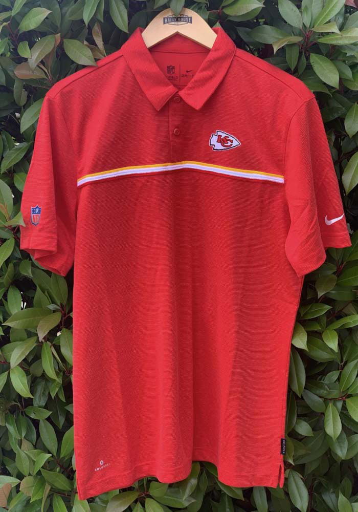 Nike Kansas City Chiefs Mens Red Sideline Short Sleeve Polo - Image 4