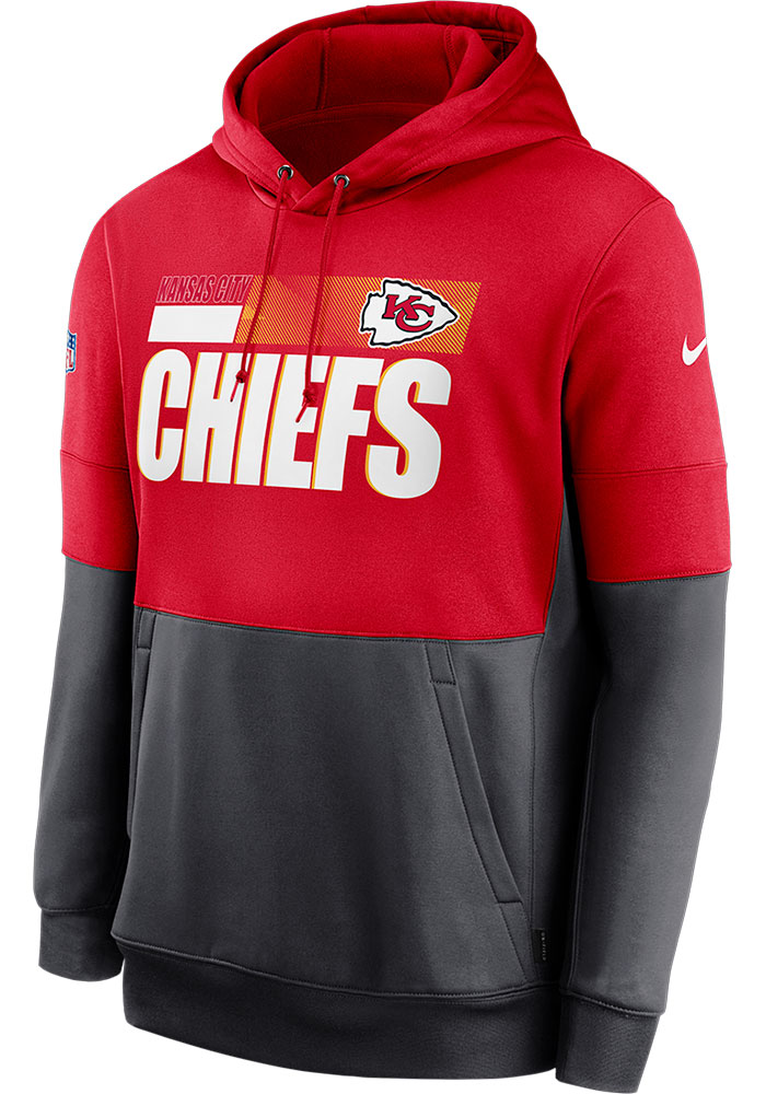Nike Kansas City Chiefs Mens Red Sideline Therma Team Name Hood - Image 1