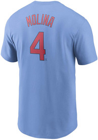 Yadier Molina St Louis Cardinals Nike Name And Number T-Shirt - Light Blue