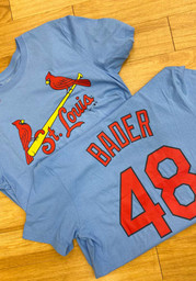 Harrison Bader St Louis Cardinals Nike Name And Number T-Shirt - Light Blue