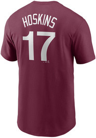 Rhys Hoskins Philadelphia Phillies Nike Name And Number T-Shirt - Maroon