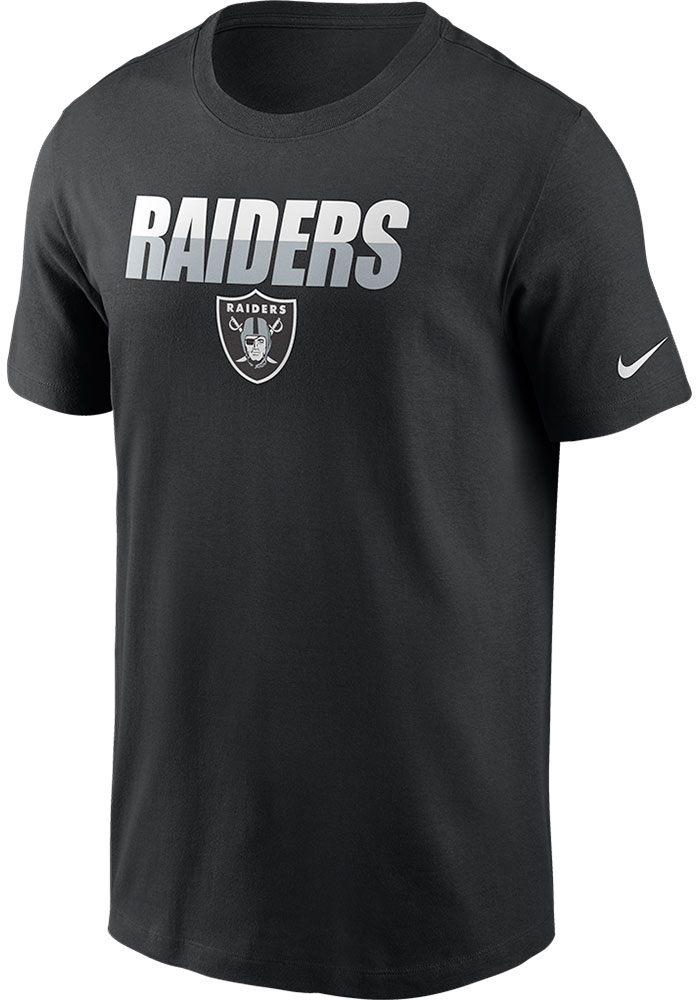 Nike Las Vegas Raiders Black Split Team Name Essential Short Sleeve T Shirt - Image 1
