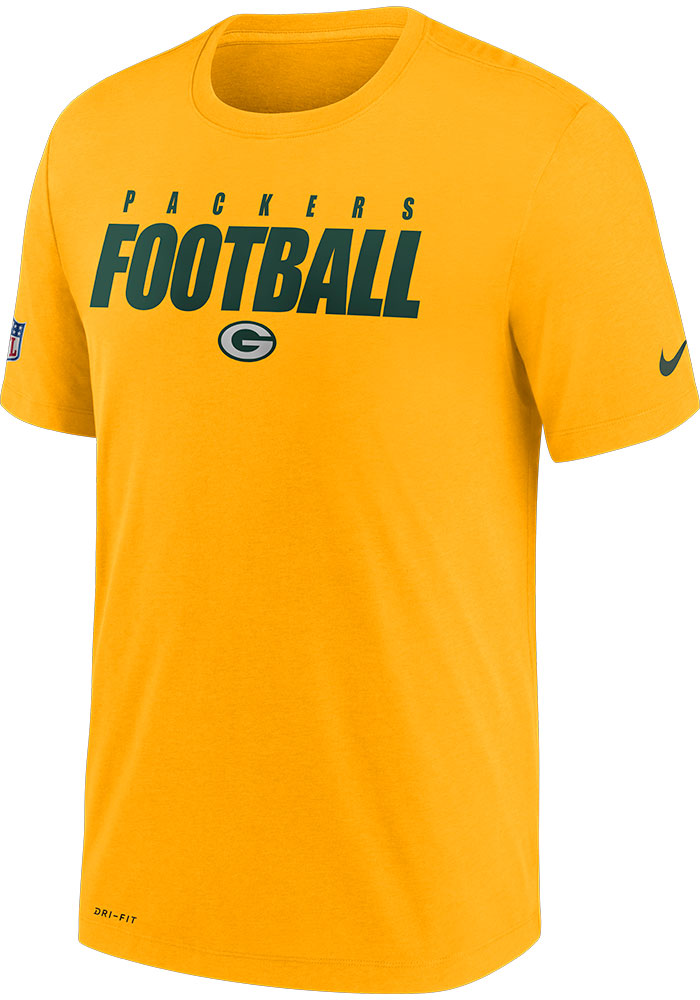 Green Bay Packers Nike Football Wordmark T Shirt - Gold