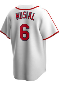 Stan Musial St Louis Cardinals Nike 42-44 Home Cooperstown - White