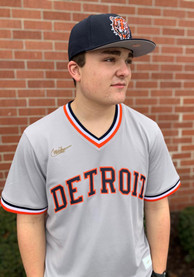 Detroit Tigers Nike 1980s Road Throwback Cooperstown Jersey - Grey