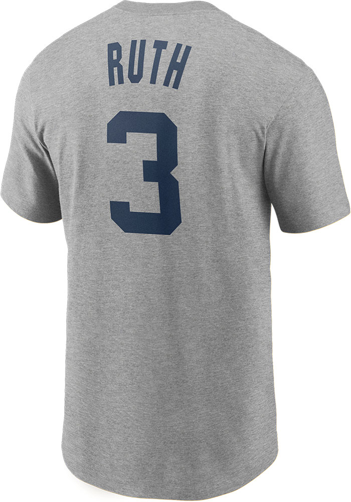 Babe Ruth New York Yankees Nike Name And Number T-Shirt - Grey