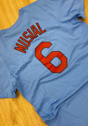 Stan Musial St Louis Cardinals Nike Name And Number T-Shirt - Light Blue