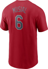 Stan Musial St Louis Cardinals Nike Name And Number T-Shirt - Red
