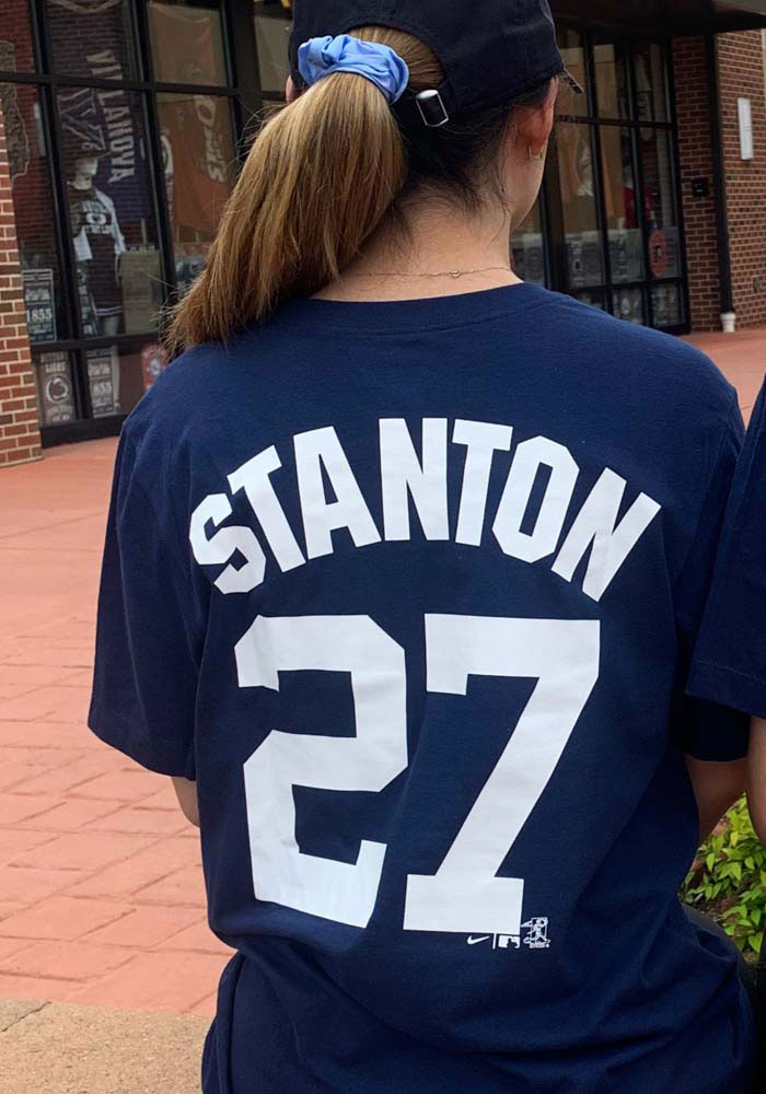 Giancarlo Stanton New York Yankees Navy Blue Name And Number Short Sleeve Player T Shirt - Image 3