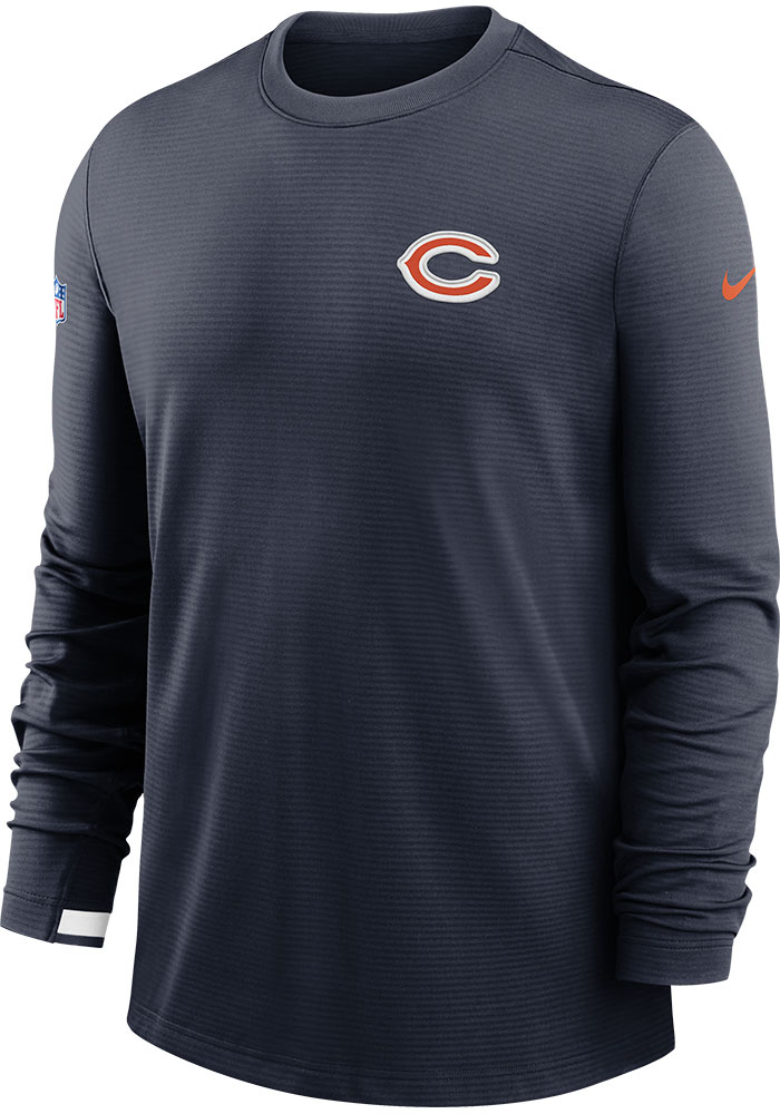 Nike Chicago Bears Mens Navy Blue TL Dri-Fit Long Sleeve Sweatshirt - Image 1