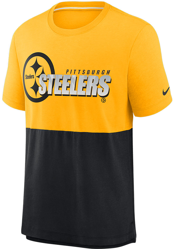 Pittsburgh Steelers Nike LN Colorblock T Shirt - Gold