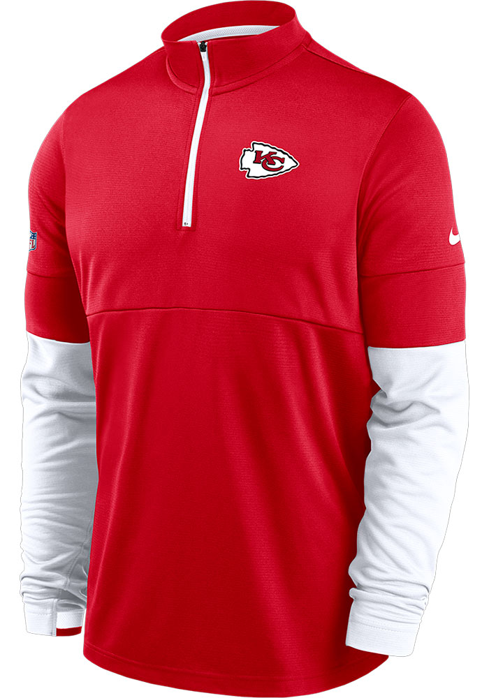 Nike Kansas City Chiefs Mens Red Therma Long Sleeve 1/4 Zip Pullover - Image 1