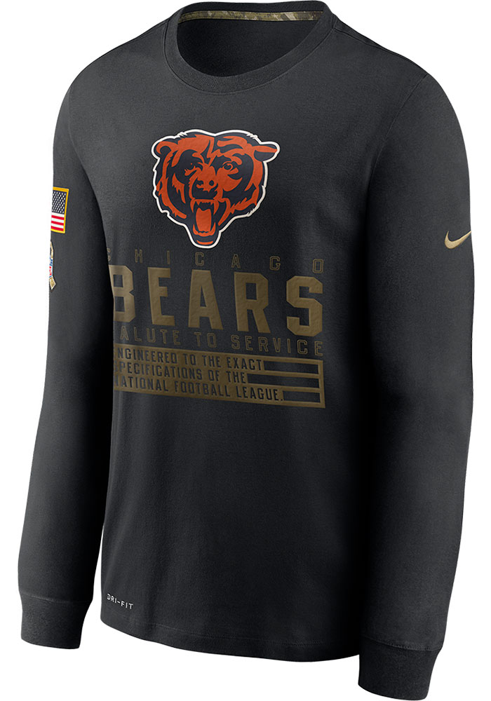 Nike Chicago Bears Black Salute To Service Dry Fit Cotton Long Sleeve T-Shirt - Image 1