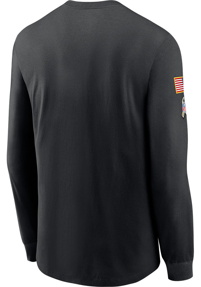 Nike Chicago Bears Black Salute To Service Dry Fit Cotton Long Sleeve T-Shirt - Image 2