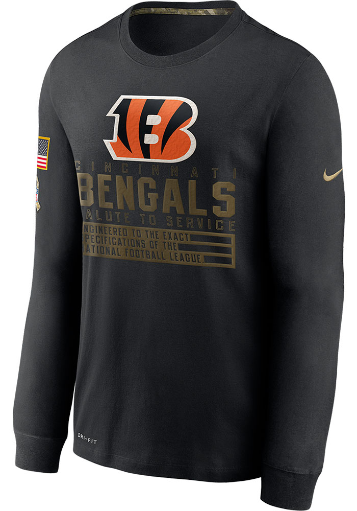 Nike Cincinnati Bengals Black Salute To Service Dry Fit Cotton Long Sleeve T-Shirt - Image 1