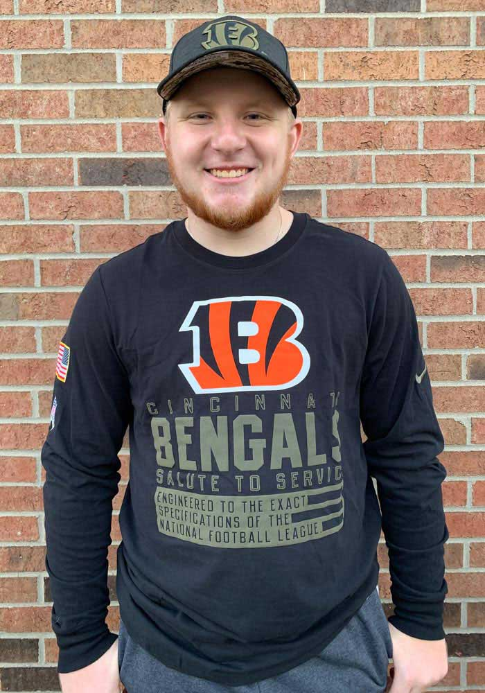 Nike Cincinnati Bengals Black Salute To Service Dry Fit Cotton Long Sleeve T-Shirt - Image 3