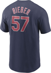 Cleveland Indians Navy Blue Nike Name And Number Short Sleeve Player T Shirt