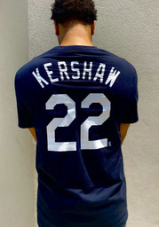 Clayton Kershaw Los Angeles Dodgers Black Name And Number Short Sleeve Player T Shirt