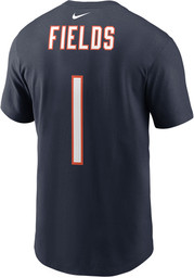Justin Fields Chicago Bears Navy Blue Name Number Short Sleeve Player T Shirt