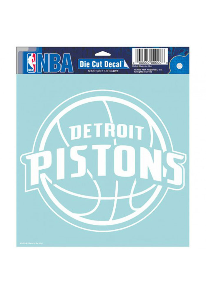 Detroit Pistons 8x8 White Perfect Cut Decal - Image 1