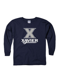 Xavier Musketeers Youth Navy Blue Logo Mark T-Shirt