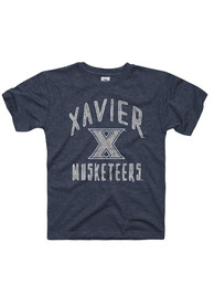 Xavier Musketeers Youth Navy Blue Text Fashion Tee