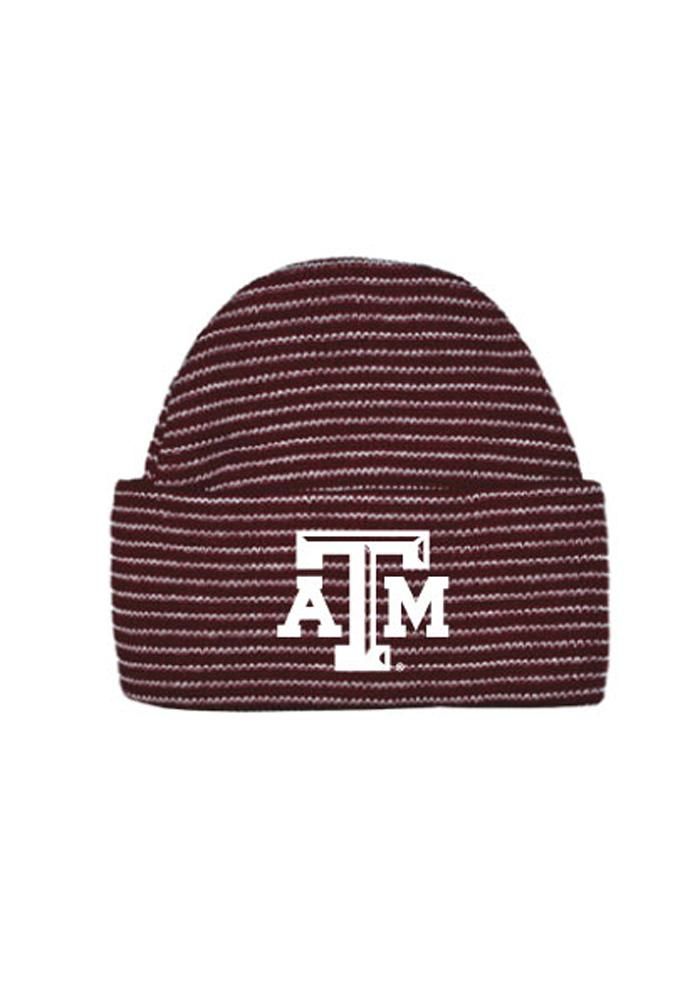Texas A&M Aggies Maroon Striped Cuff Newborn Knit Hat - Image 1