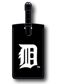 Detroit Tigers Black Leather Luggage Tag - Black