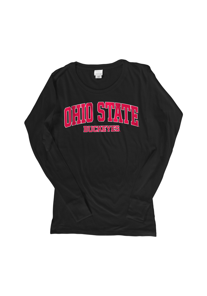 Ohio State Buckeyes Womens Black Arch Logo Long Sleeve Women's Scoop, Black, 100% COTTON, Size S
