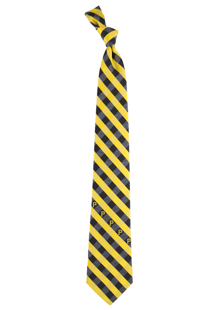 Pittsburgh Pirates Poly Woven Check Mens Tie - Image 1