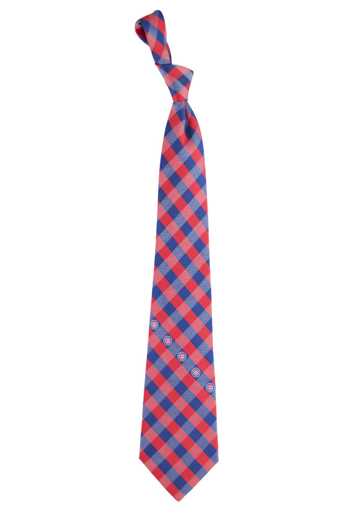 Chicago Cubs Poly Woven Check Mens Tie - Image 1