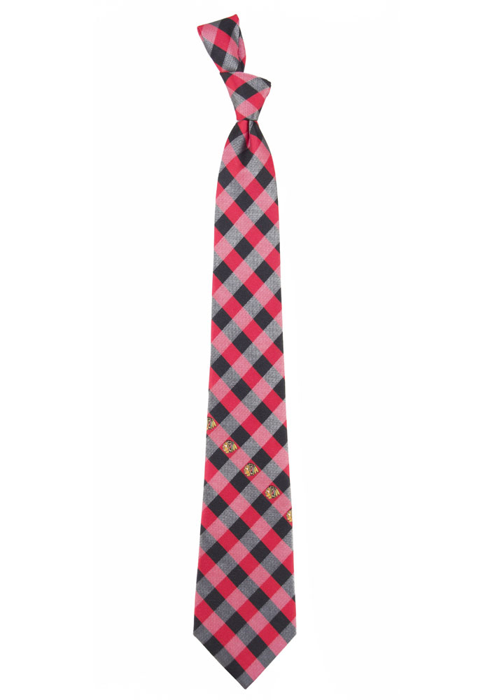 Chicago Blackhawks Poly Woven Check Mens Tie - Image 1