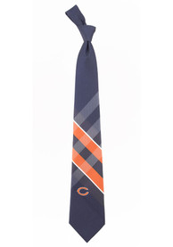 Chicago Bears Woven Poly Grid Tie - Navy Blue