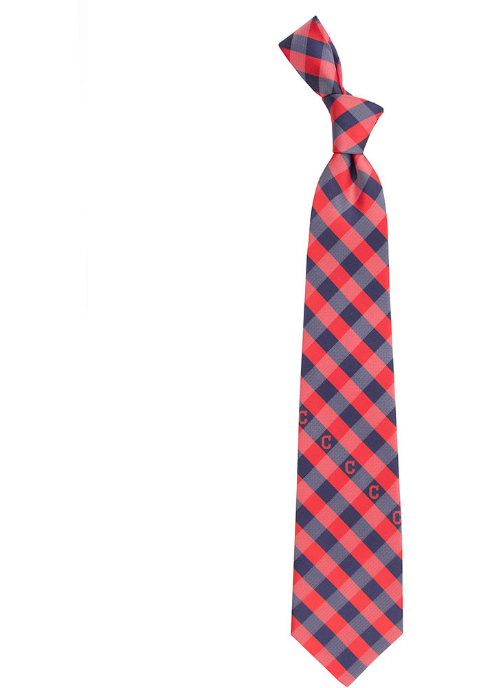 Cleveland Indians Poly Woven Check Mens Tie - Image 1