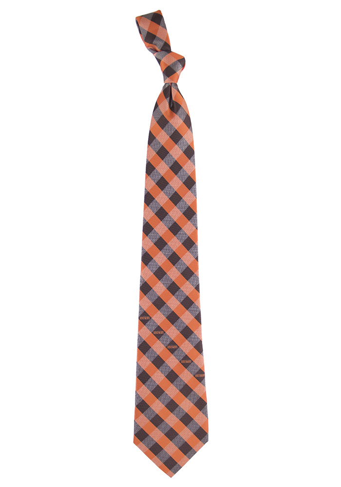 Cleveland Browns Poly Woven Check Mens Tie - Image 1