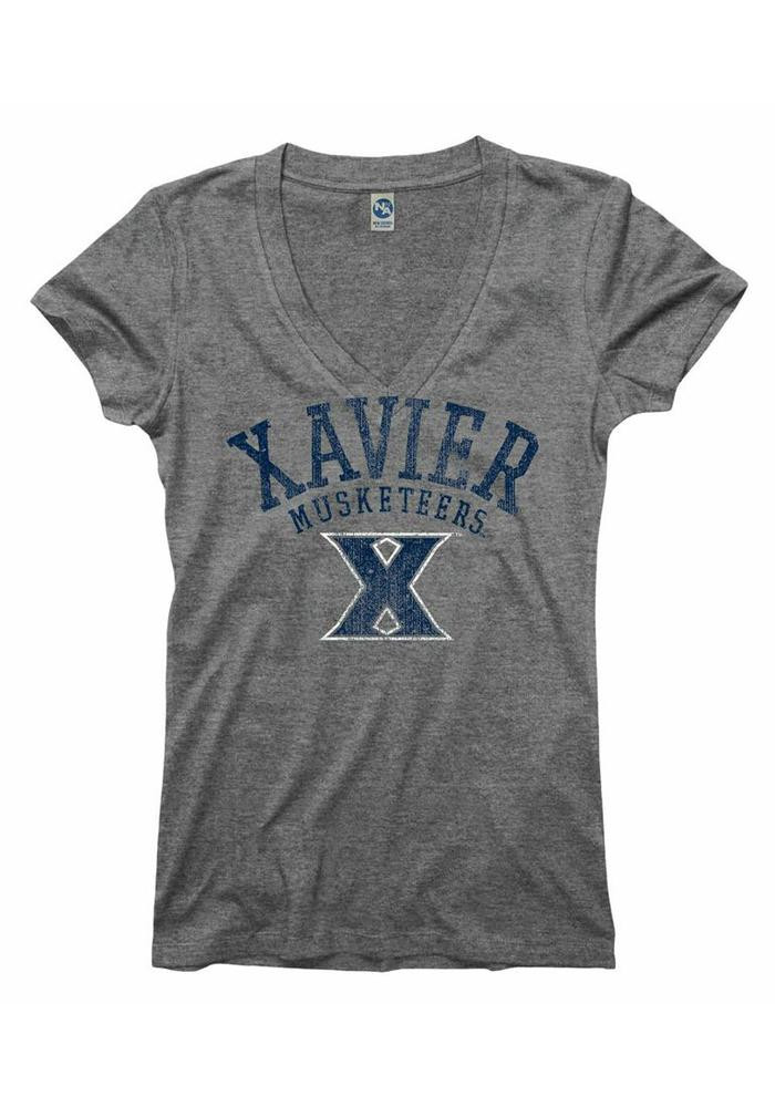 Xavier Musketeers Juniors Grey Ageless V-Neck T-Shirt - Image 1