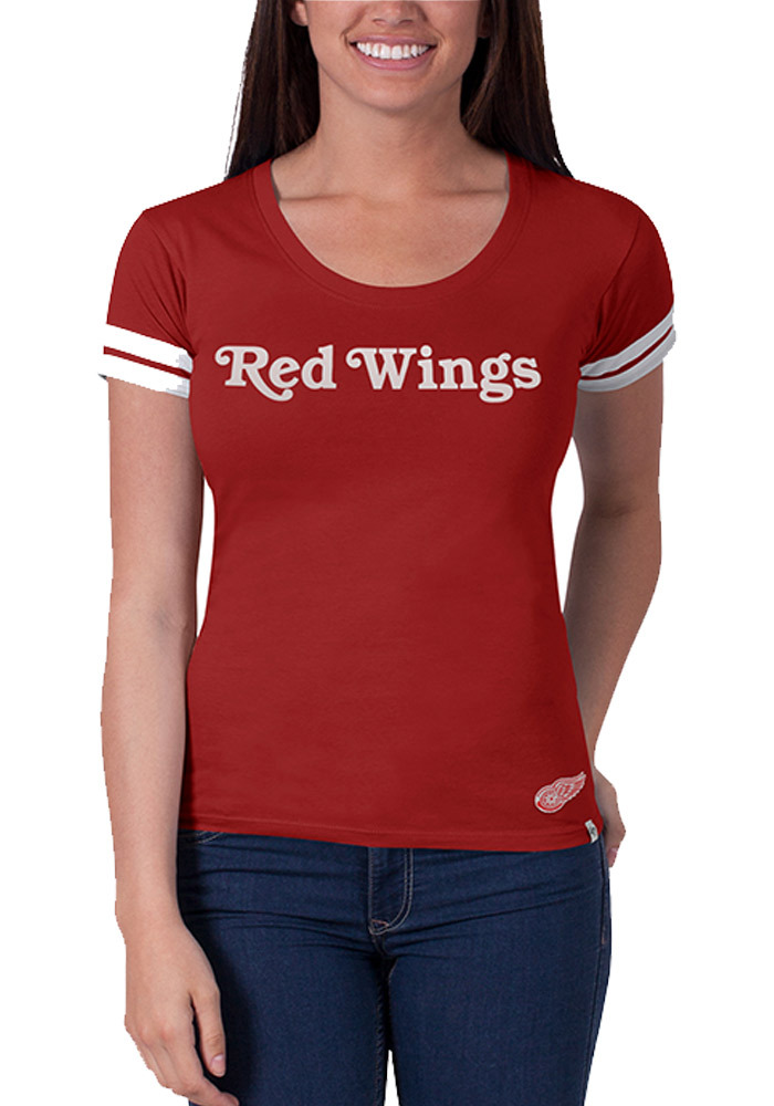 47 Detroit Red Wings Womens Red Showtime Scoop Scoop T-Shirt - Image 1