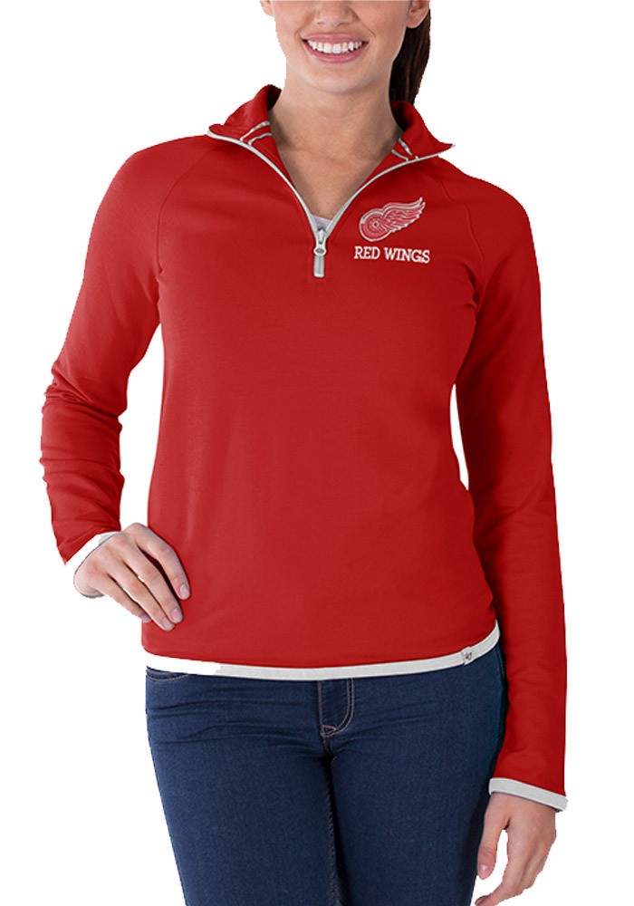 47 Detroit Red Wings Womens Red Showdown 1/4 Zip Pullover - Image 1