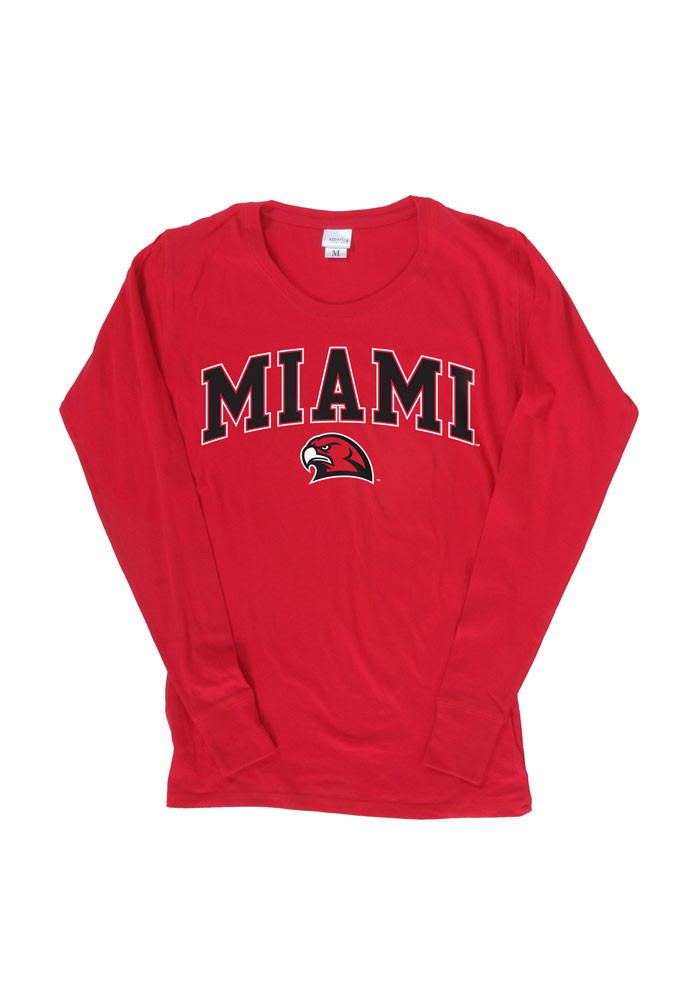 Miami of Ohio Womens Red Cotton Jersey Long Sleeve Scoop Neck - Image 1