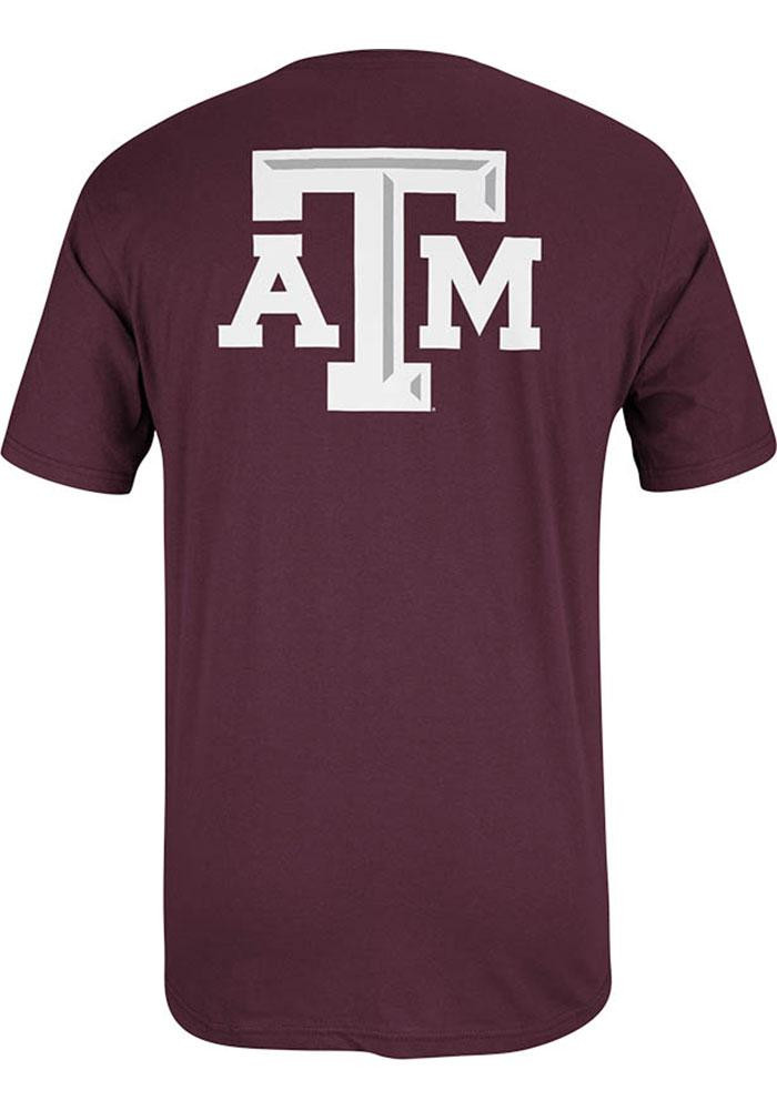 Adidas Texas A&M Aggies Mens Maroon Beat Short Sleeve T Shirt - Image 2
